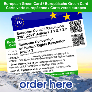 With this card you show that you appeal to the European law and resolution of the European Council and not want to be vaccinated or tested. We do not guarantee that you will be able to drive freely without testing but you can show in several languages that you are protected by European law. Order form https://donorbox.org/EU-GC